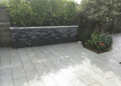 silver granite paving and limestone walling