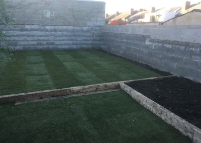 roll out grass and raised beds