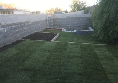 rollout grass and raised garden beds